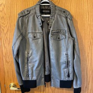 Gray Guess faux leather jacket